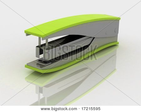 Stapler with reflection on white background