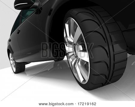 Closeup of wheels of machine on white background