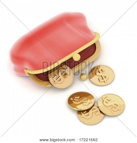 red purse  and money on a white background