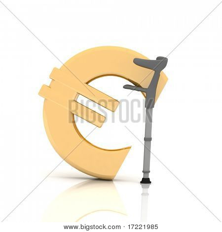 sign of euro, supported by a crutch, over white background