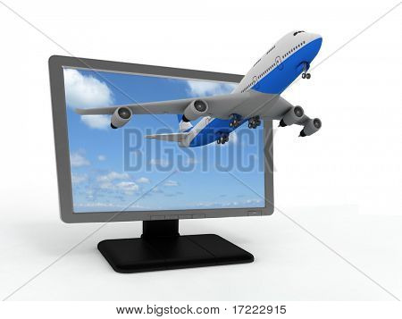 The plane takes off from the  monitor.