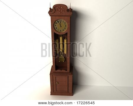 3d old clock isolated on a white background