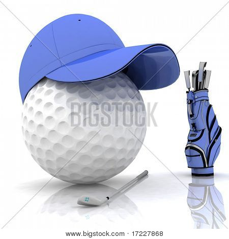 belonging for playing golf on a white background