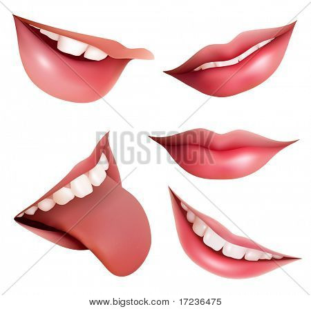 Vector illustration of open mouth, tooth and tongue.