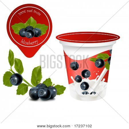Vector illustration. Background for design of packing yoghurt with photo-realistic vector of cherry. Ripe  blueberry with leaves.