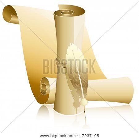 Ilustración del vector. Papel pergamino con pluma.