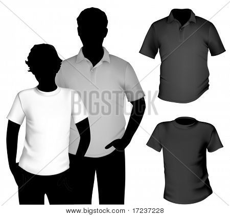 Vector. Preto e branco t-shirt e camisa polo modelo do homens com a silhueta do corpo humano.