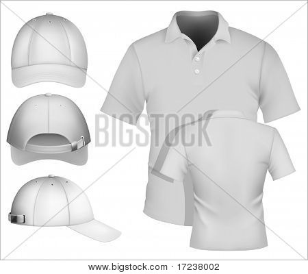 Vector. Men's polo shirt design template and baseball cap. More clothing designs in my portfolio.