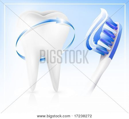 Vector. Dental concept. White tooth with toothbrush