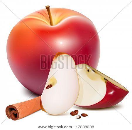 Vector. Maduras manzanas rojas con hojas verdes y canela.