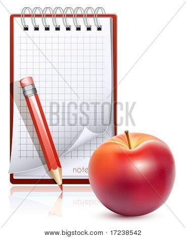 Vector notebook with pencil and ripe apple