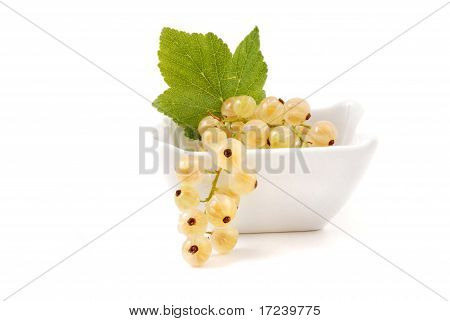 White currant fruits in cup isolated on white background