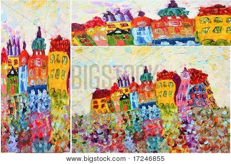 Funny houses painting
