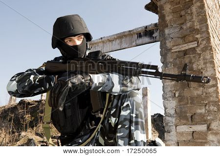 Soldier With Automatic Ak-47 Rifle