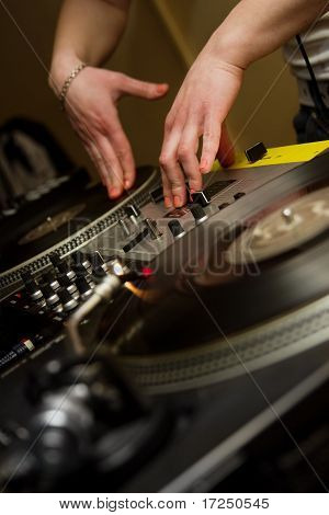 Dj Playing Music From Vinyl Records