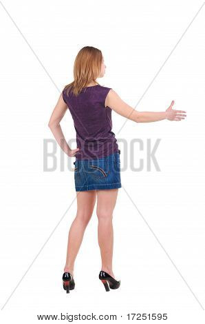 Beautiful Young Woman Handshake . Rear View.