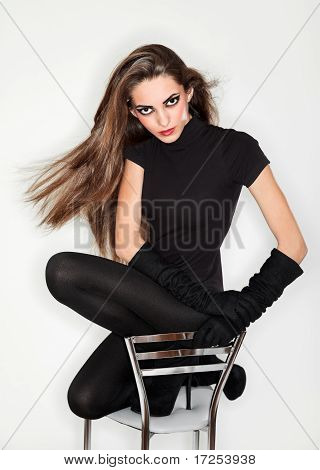 Young Beautiful Woman In Black Combi Dress And Velvet Gloves, Ring Flash Studio Portrait