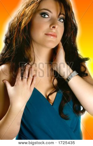 Beautiful Blue Eyed Woman On Orange Background