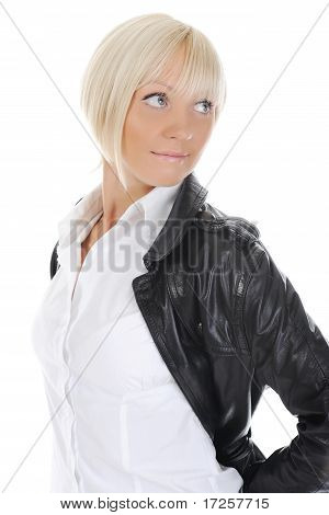 Portrait of the girl in a leather jacket
