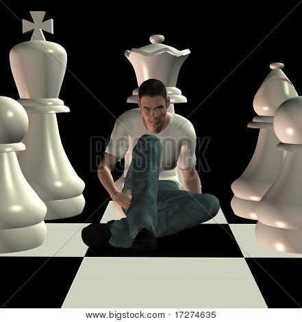 Ilustración 3D de jaque mate