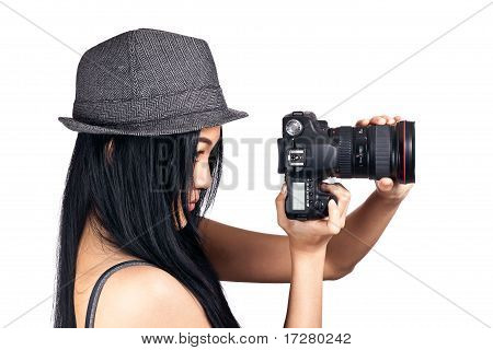 Girl Getting Ready To Take A Photo