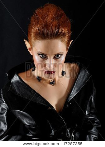 Terrible Fashion Vampire Woman With Spiders And Blood