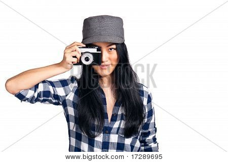 Young Girl Having A Fun With Her Camera