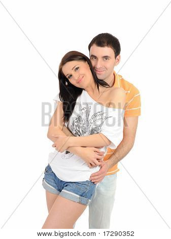 Sweet Young Summer Couple In Love Having Fun. Isolated
