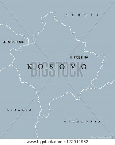 Kosovo Political Map Capital Vector Photo Bigstock - pristina map