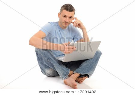 Handsome Young Male Study On Laptop Computer. Isolated