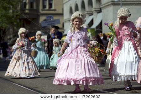 Children Parade To Sechselauten, Zurich, Switzerland