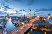 Berlin Skyline With Spree River At Night, Germany poster
