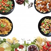 Collage of Italian meals and ingredients.  Italian food background, with copy space. poster