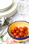Table Setting For Outdoor Dining, With Cherry Tomatoes poster
