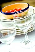 Table Setting For Outdoor Dining, With Wine Glasses poster