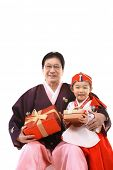 image of hanbok  - Grandfather and Child - JPG