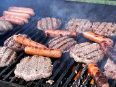 picture of hot dogs  - Hamburgers and hot dogs on a gas grill - JPG