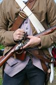 A colonial militiaman readies his weapon during a revolutionary war reenactment pic.