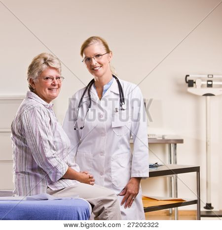 Senior woman having checkup in doctor office