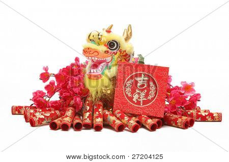 Chinese New Year Ornaments--Traditional Dancing Dragon,Red Packet and Firecrackers.
