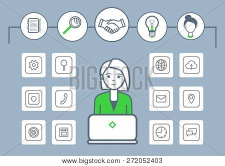 Woman Working By Laptop Isolated
