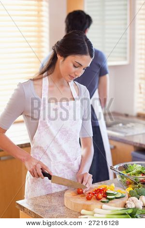 Portrait of a woman chopping pepper while her fiance is washing dishes in their kitchen