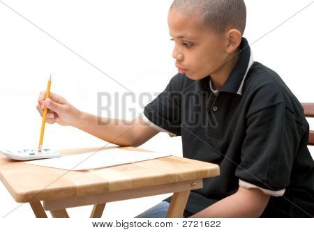 African American Boy Doing Math Homework