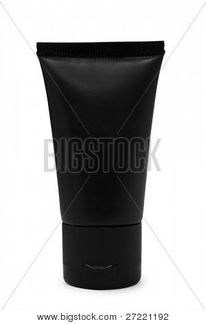Black tube on white background