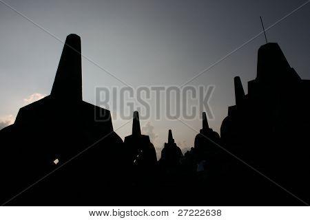 Borobudur temple silhouette