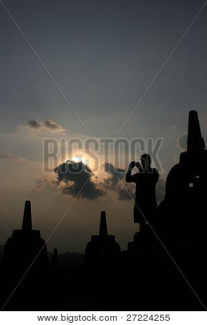 tourists at Borobudur