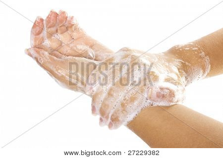 Soap female hands isolated on white background