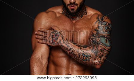 Bodybuilder With Muscle Torso Banner