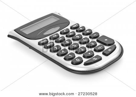 Calculator isolated over white, skew view