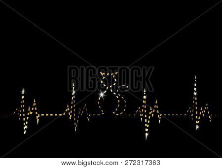 poster of Olden Cat Silhouette In Audio Wave Or Sound Wave Design. Vector Linear Representation Of Gold Cat, B